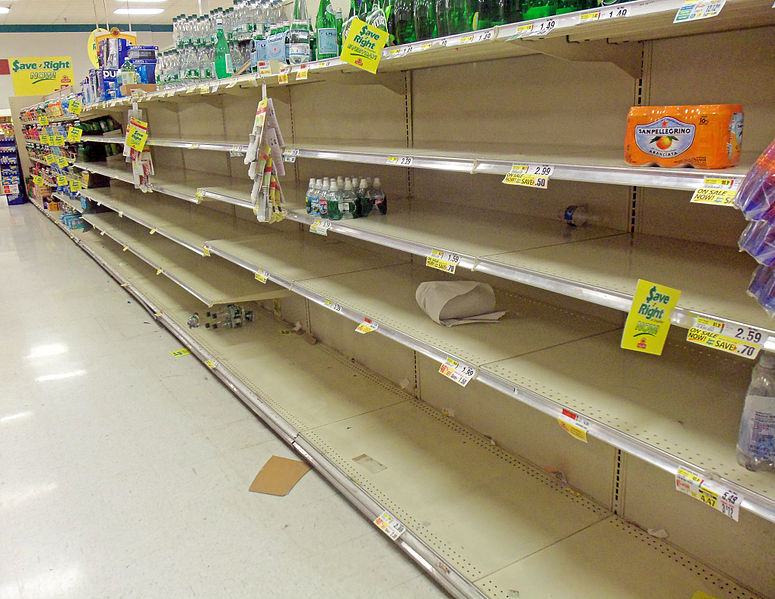 Picture shows empty grocery store shelves.
