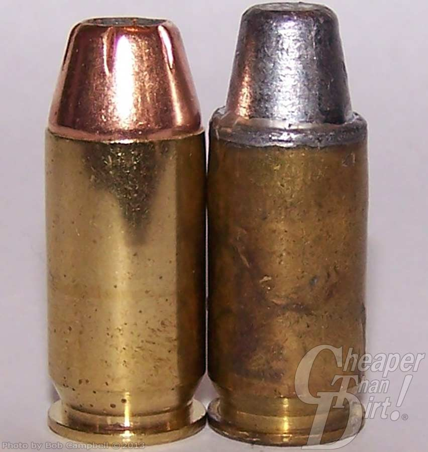 Comparison of a defensive round and wad cutter practice bullet