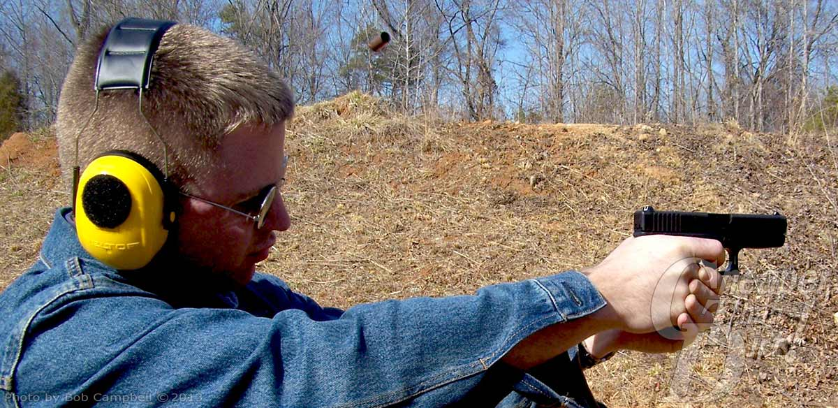 Capt. Mathew Campbell shooting the Glock 19