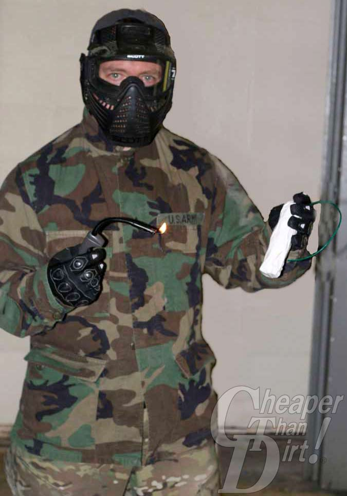 Terrorist with a fake bomb in a training scenario