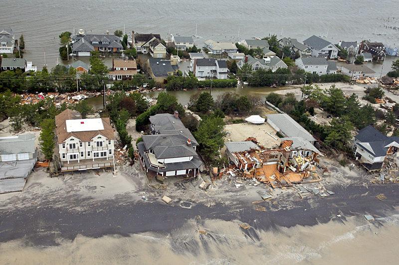 Picture shows homes destroyed in New Jersey after Hurricane Sandy.