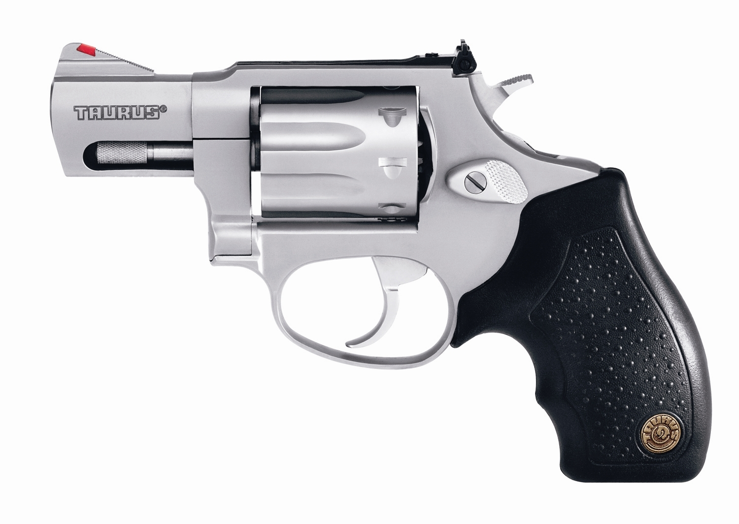 .22 Short revolver with black handle and barrel pointed to the left on a white background.