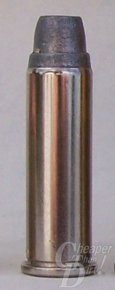 A .38 Special cartridge with a bronze-color case and a black bullet using a semi-wadcutter design.