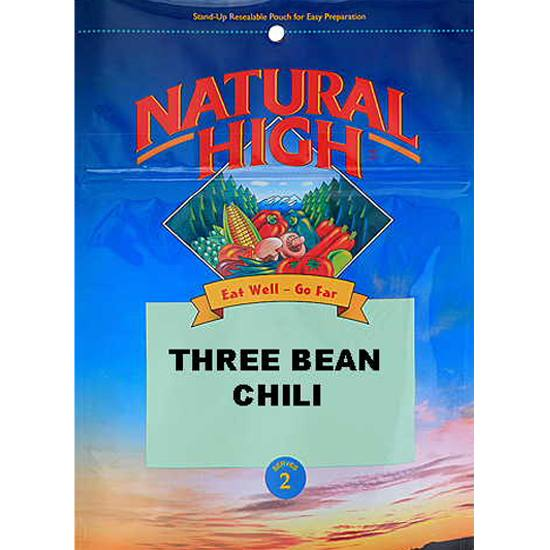 Picture shows a blue foil package of Natural High's freeze-dried three bean chili.