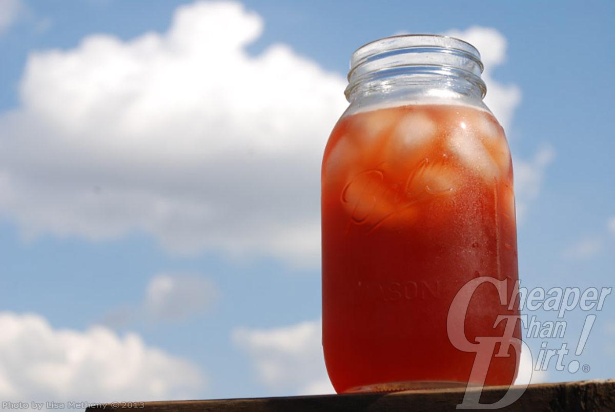 Mason jar of sassafras tea