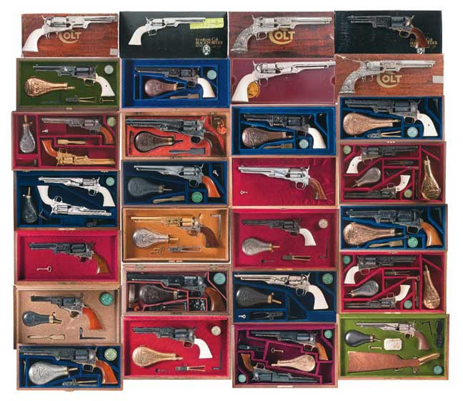 Jerry Bowe's collection of classic colt pistols with colored boxes