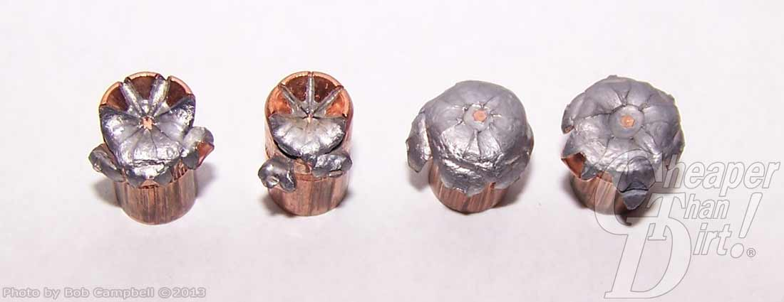 Four Speer Gold Dot bullets after impact