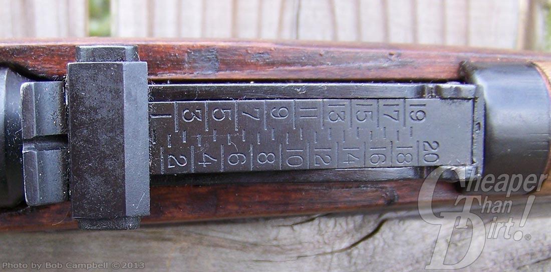 Close up of the Mosin Nagant sight bar