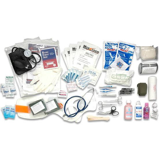 A variety of different medical supplies for a bug out bag.