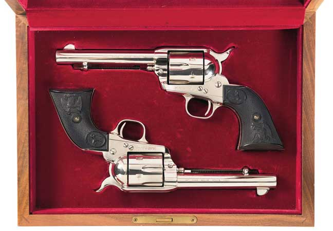 These revolvers were presented to the sitting 40th president by famed quick draw artist, holster manufacturer, and Hollywood firearms consultant Arvo Ojala.