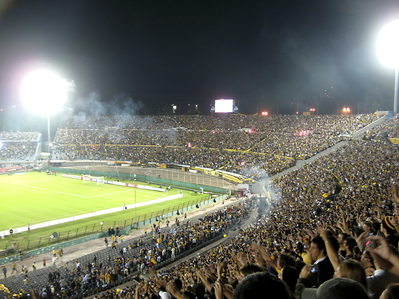A large stadium with many thousands of people, and the green playing field in the center of the image.