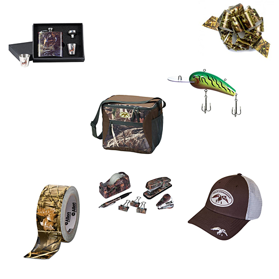 Picture shows six camo Christmas gifts, a cap, tape, a flask, cooler, fishing lure, and office supplies.