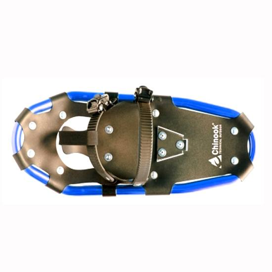 Picture shows a modern, aluminum snowshoe with a blue outside.