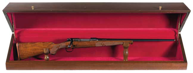 Winchester Model 70 in red felt lined wood presentation case