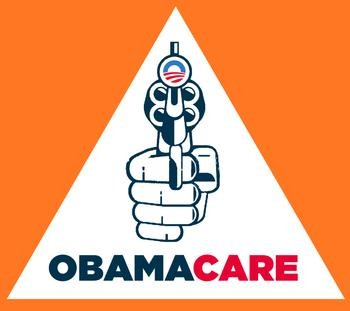 Orange logo with hand holding a revolver and Obamacar logo in center of gun barrel