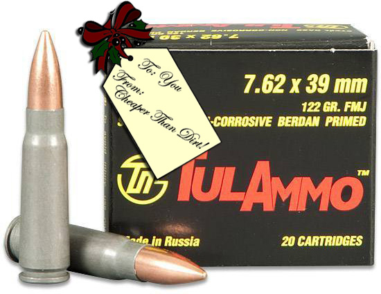 One box and two loose rounds of 7.62x39mm ammunition from TulAmmo