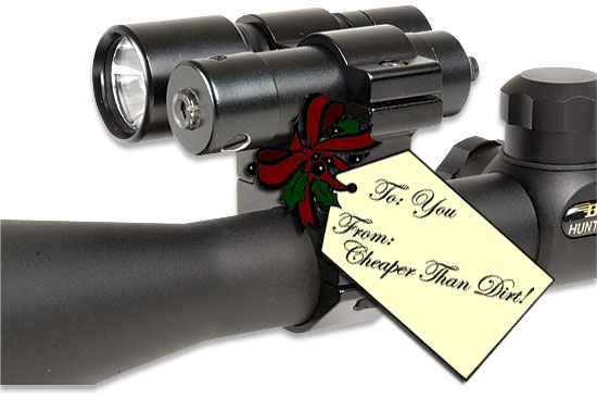 Picture shows a laser and light combo mounted onto a riflescope.