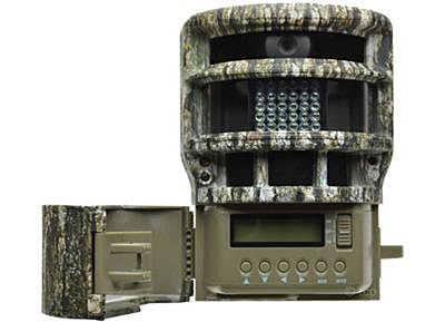 Picture shows an OD green and camo-colored game camera.