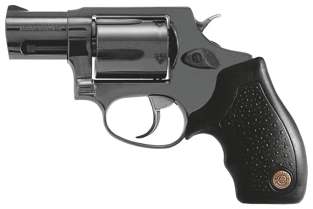 Dark gray Taurus 85 .38 Special with a black grip on a white background.