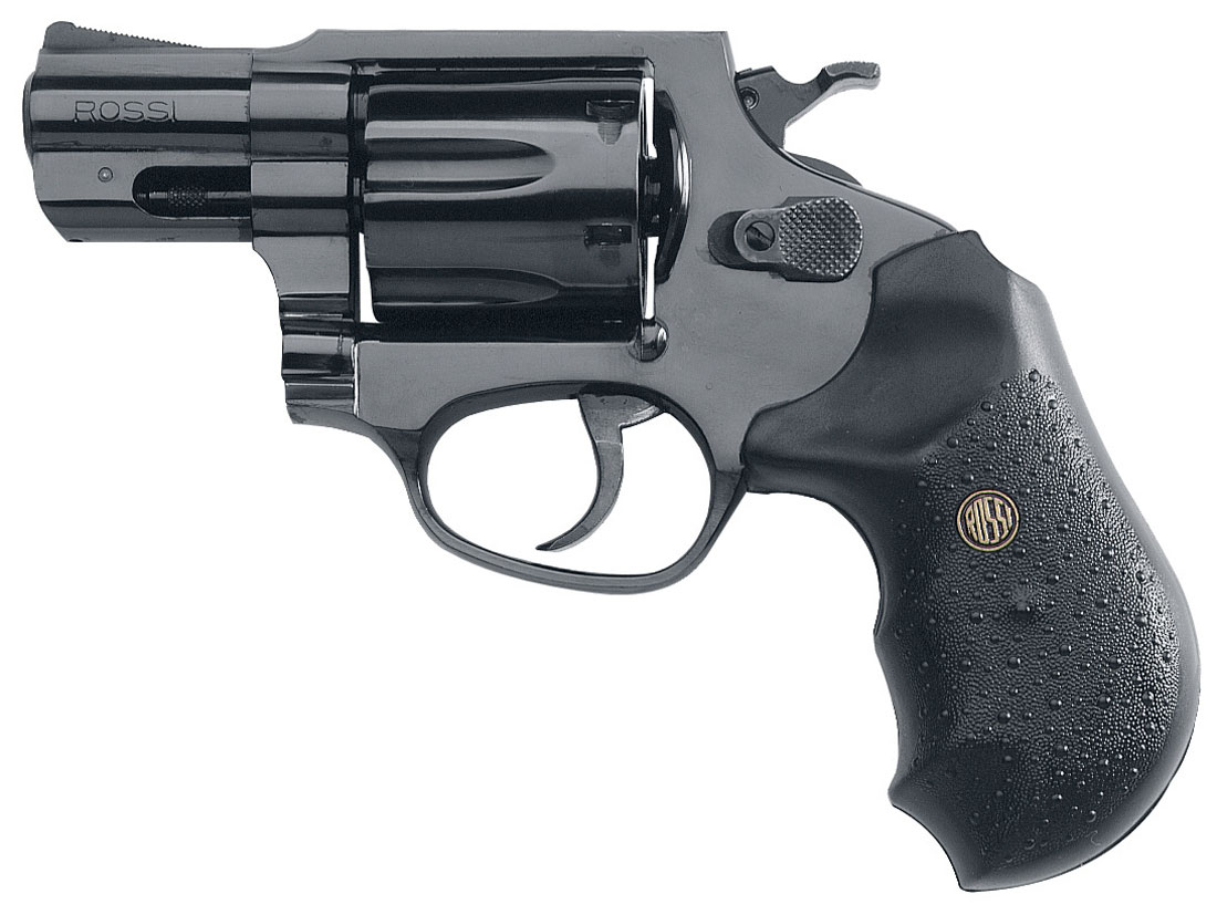 All black Rossi .357 Magnum, barrel pointed to the left, on a white background.