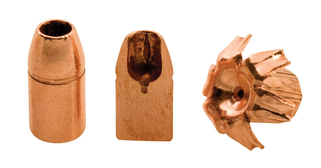 3 Copper colored Barnes X bullets, from left to right: bullet, cutaway of the bulleted and spent bullet.
