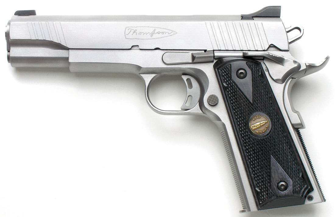 Auto-Ordnance Thompson Custom 1911TC pistol with chrome finish