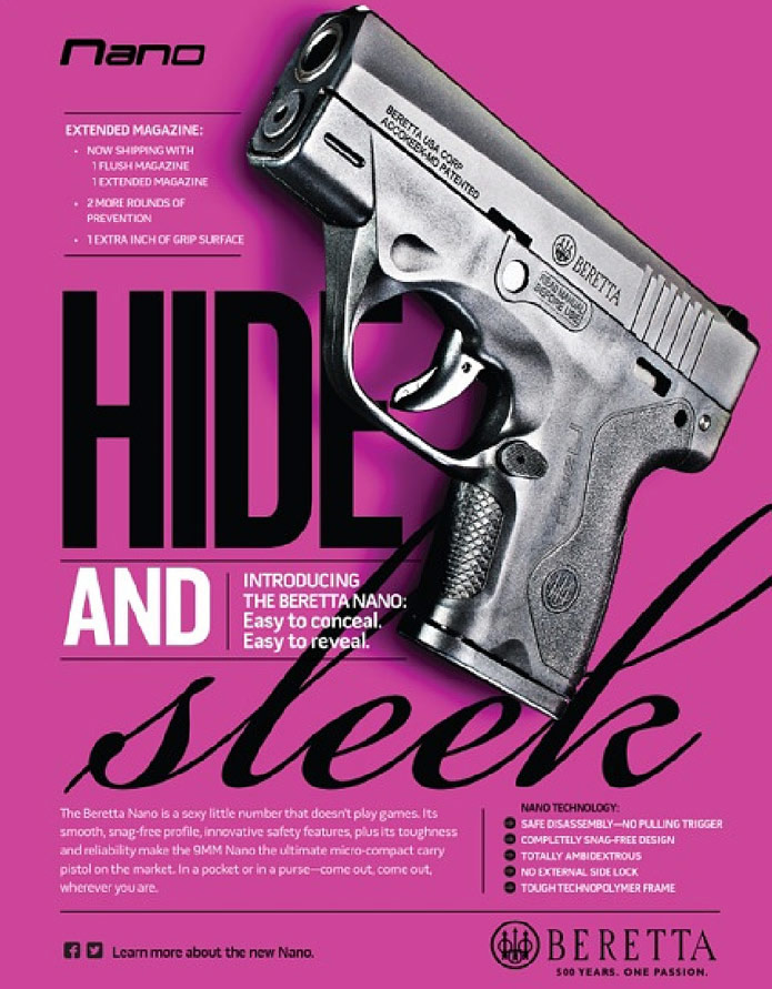 Picture shows a pink Beretta Nano magazine advertisement.