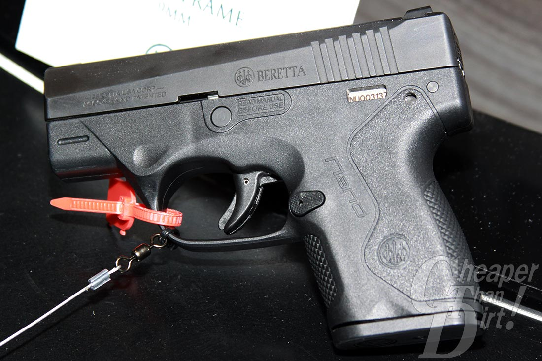 Picture shows a black sub-compact Beretta Nano on display at the SHOT Show.