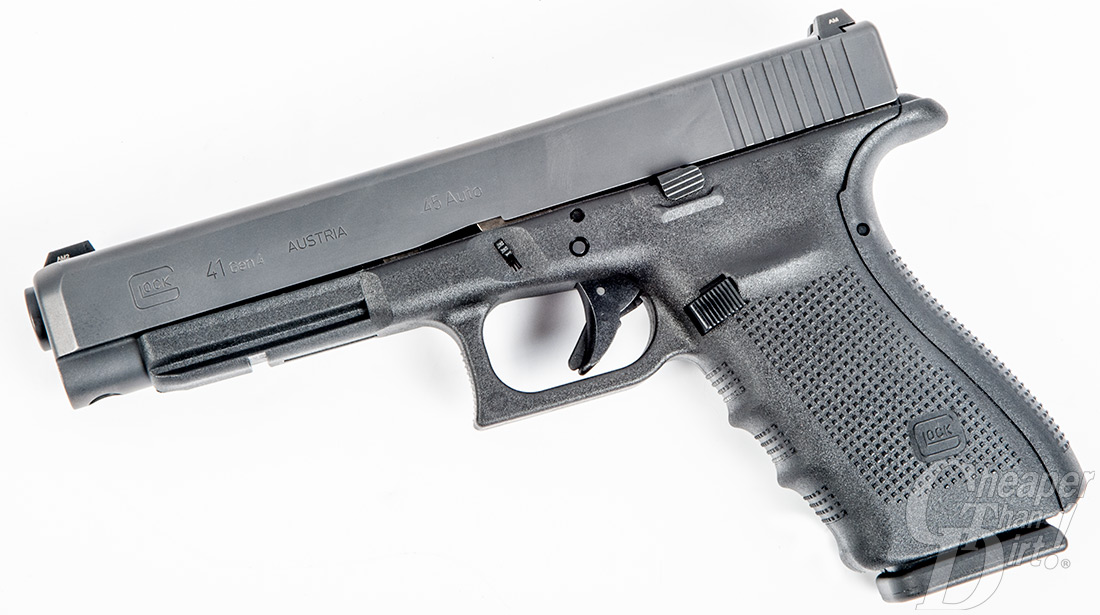 Medium gray/silver glock barrel pointed down and to the left on a white background.