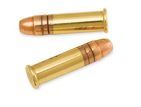 Two bullets, gold bases and copper tops, on a white background.
