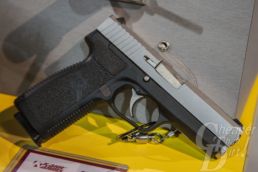 Picture shows a two-toned Kahr Arms CT 40 pistol.