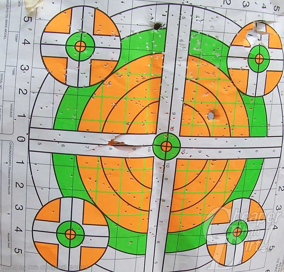 Target with white background and orange and green target areas with holes from lots of birdshot and a couple of ball rounds