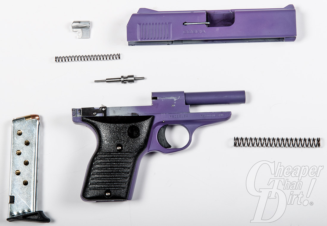 Picture shows the Cobra Freedom .380 pistol field stripped in pieces.
