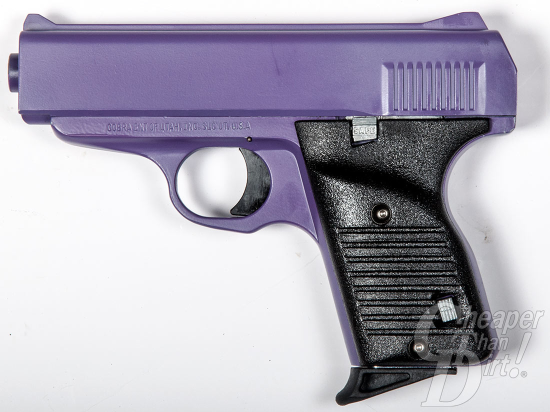 Pciture shows the left side of a purple and black handgun.