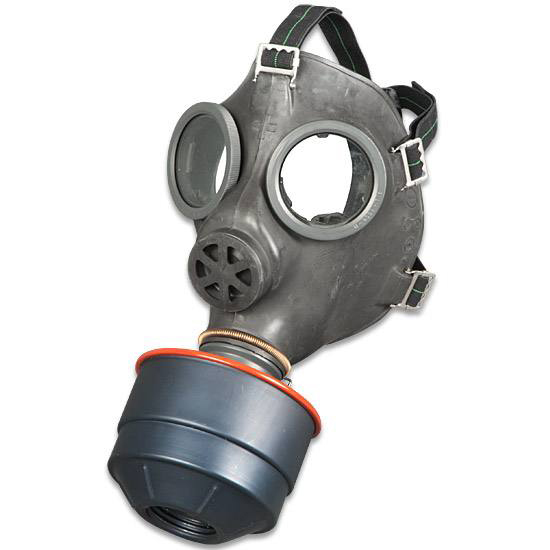 Picture shows a military surplus gas mask with elongated mouth piece with a filter attached.