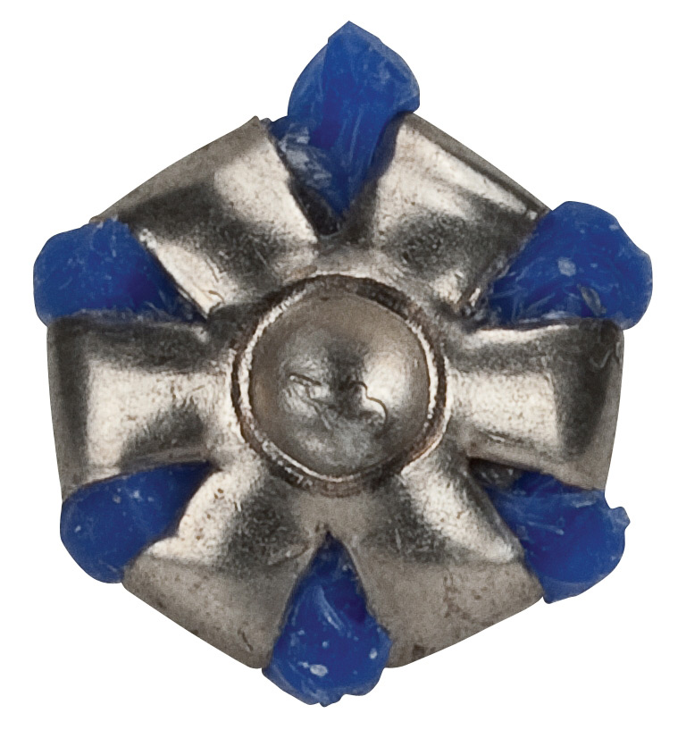 Silver expanded Federal Guard Dog bullet with blue on a white background.