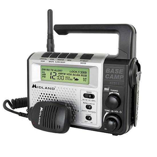 Picture shows a black and gray emergency radio with handle and a two-way communication walkie talkie attached.