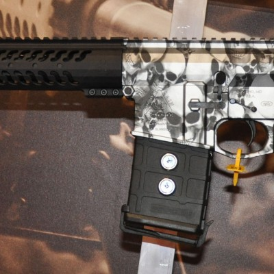 Picture shows a rifle made by Black Rain with a black and white skull paint job on the reciever.