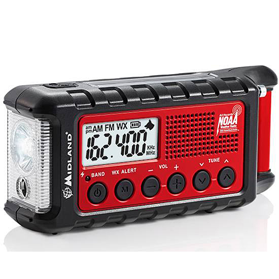 Picture shows a black and red emergency radio with a flashlight on the side of the unit.