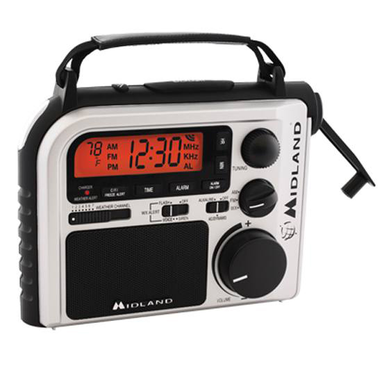 Picture shows a black and white emergency radio with crank power on the side.