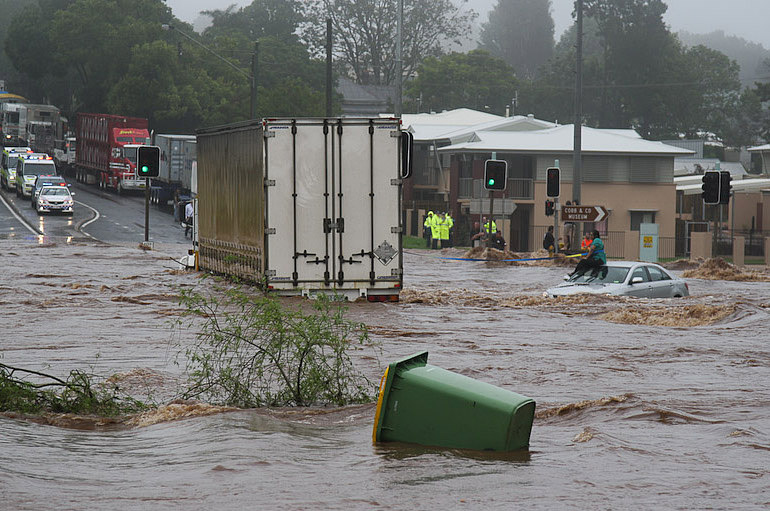 Picture shows a town with flood waters.