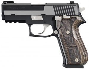 A black SIG P220 with barrel pointed to the left on a white background.
