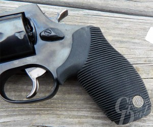 Deep silver Rossi R441 .44  with the focus on the dark charcoal Ribber grips.