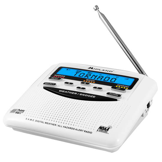 Picture shows a white emergency radio.