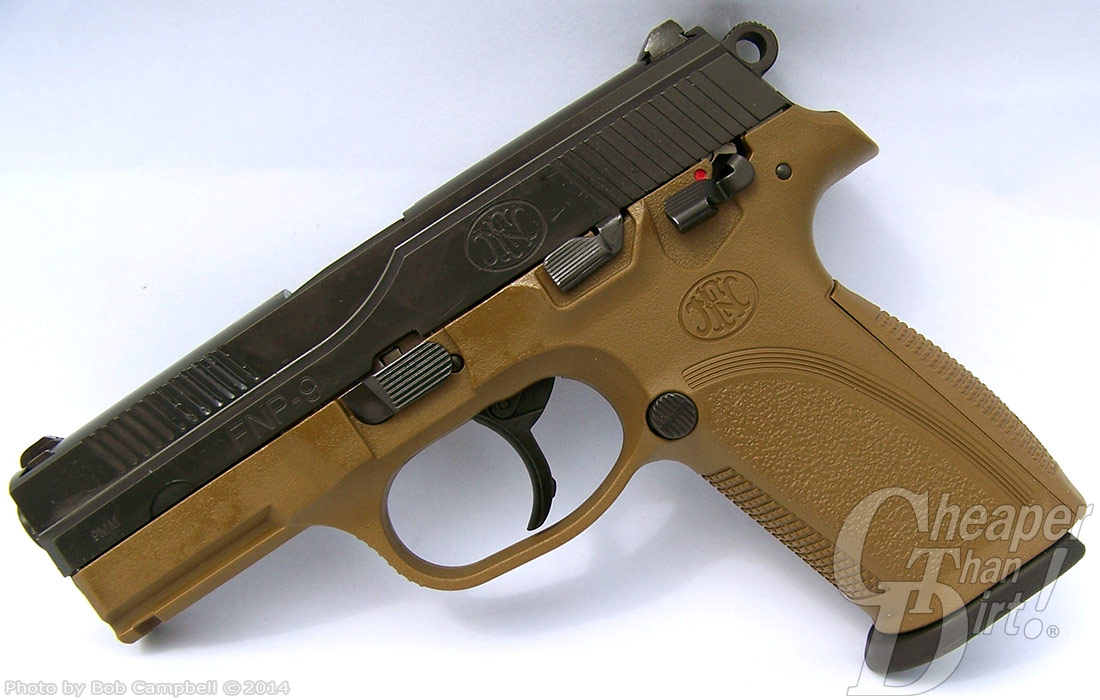 Service grade handgun in khaki-brown on a gray-to-white background.
