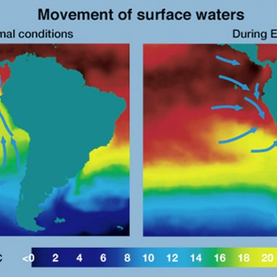 Picture shows a computer graphic of how warm water surrounds the cost of South American during an El Nino weather season.