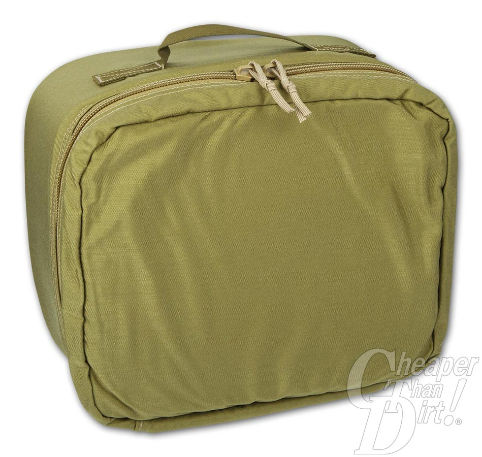 Picture shows the front of a square, OD green padded military surplus case.