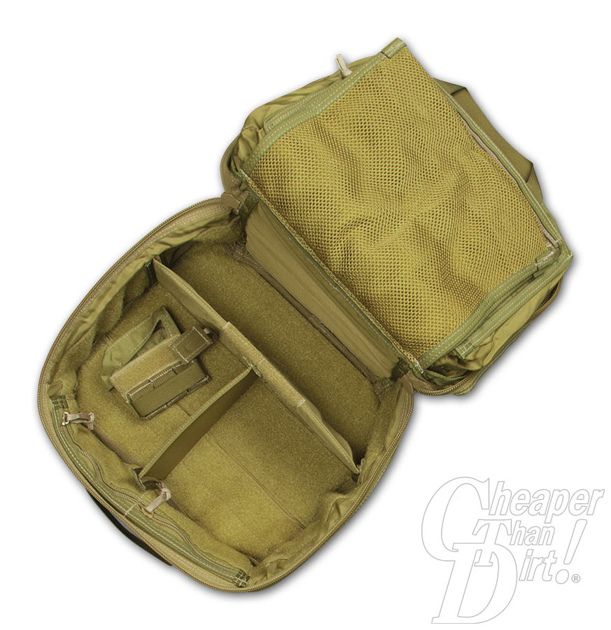 Picture shows the inside of an OD green military surplus case that measures 12x10 and includes removable inserts.