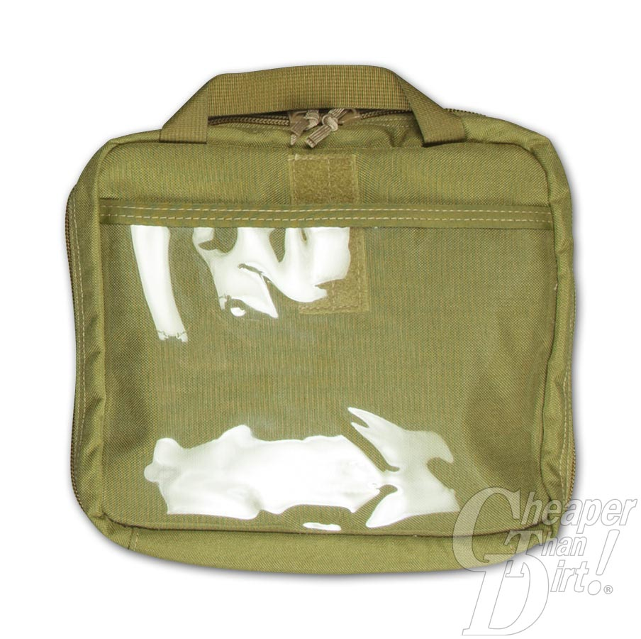 Picture shows a small, OD green pistol case with web handle.