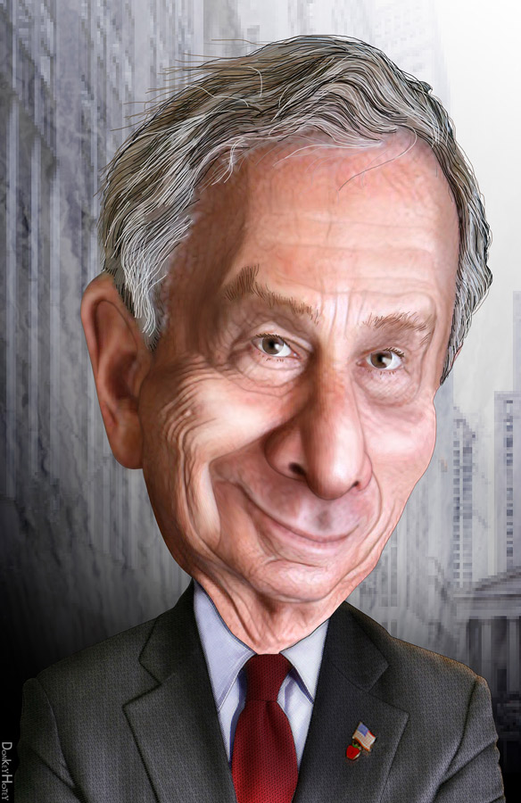 Picture is a drawing caricature of Michael Bloomberg.
